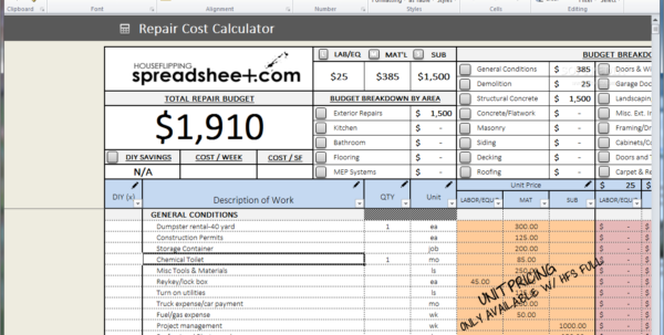 Download House Flipping Spreadsheet 1 Intended For Property Flipping Spreadsheet