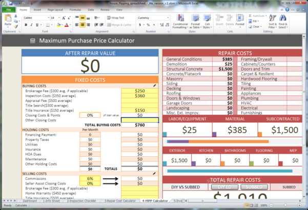 Download House Flipping Spreadsheet 1 With House Flipping Spreadsheet