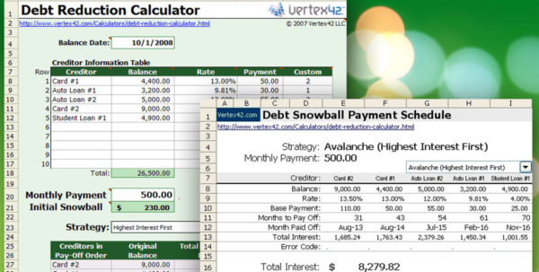 Download This Snowball Debt Calculator And Plan To Get Out Of Debt With Get Out Of Debt Spreadsheet