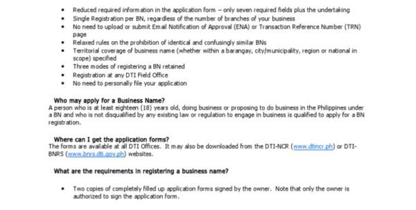 Dti Business Name Registration Faqs   Docshare.tips To Business Registration Application Form