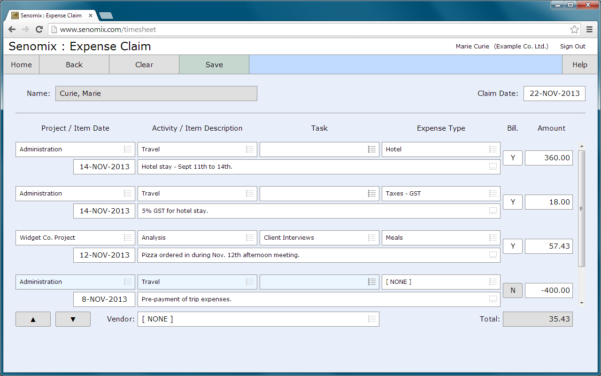 Easy Time And Expense Tracking With Senomix Timesheets With Project Expense Tracking