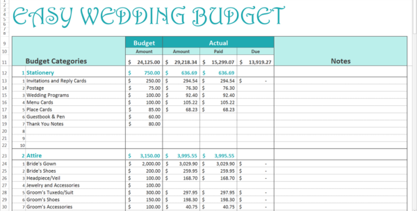 Easy Wedding Budget   Excel Template   Savvy Spreadsheets With Bills Spreadsheet Template