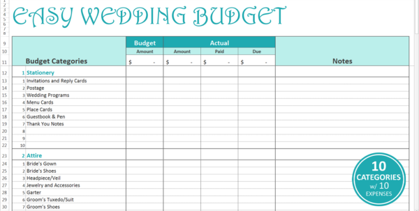 Easy Wedding Budget   Excel Template   Savvy Spreadsheets Within Budgeting Tool Excel
