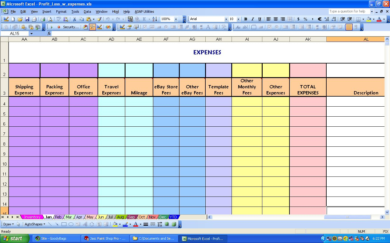 Ebay Profit & Loss With Monthly Expense Spreadsheet For Profit And Expense Spreadsheet