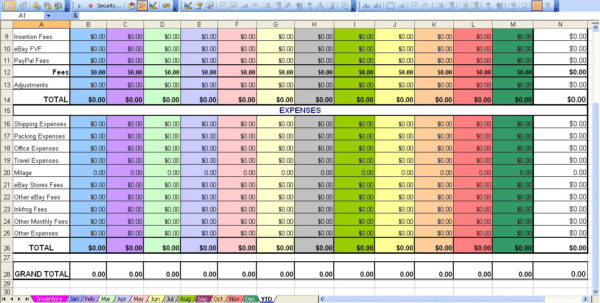 Ebay Profit & Loss With Monthly Expense Spreadsheet To Profit And Expense Spreadsheet