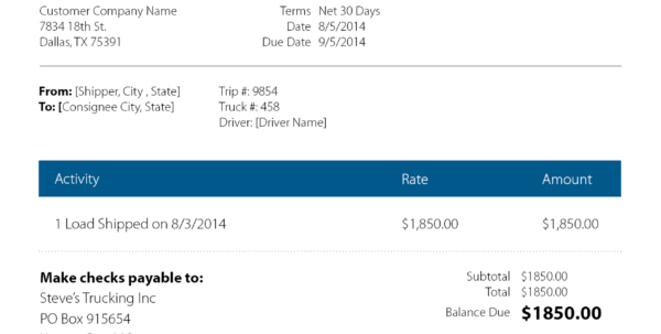 Eight Keys To A Rock Solid Trucking Invoice | Rts Financial Inside Trucking Invoice Template