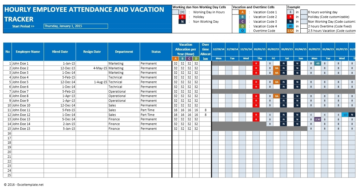 Employee Attendance Excel Sheet Free Download And Employee With Time Inside Time Tracking Excel Template