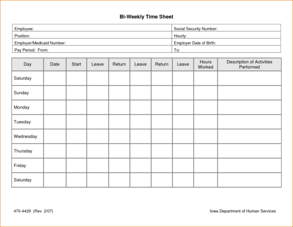 Employee Time Tracking Sheet 13   Isipingo Secondary With Employee Hour Tracking Template