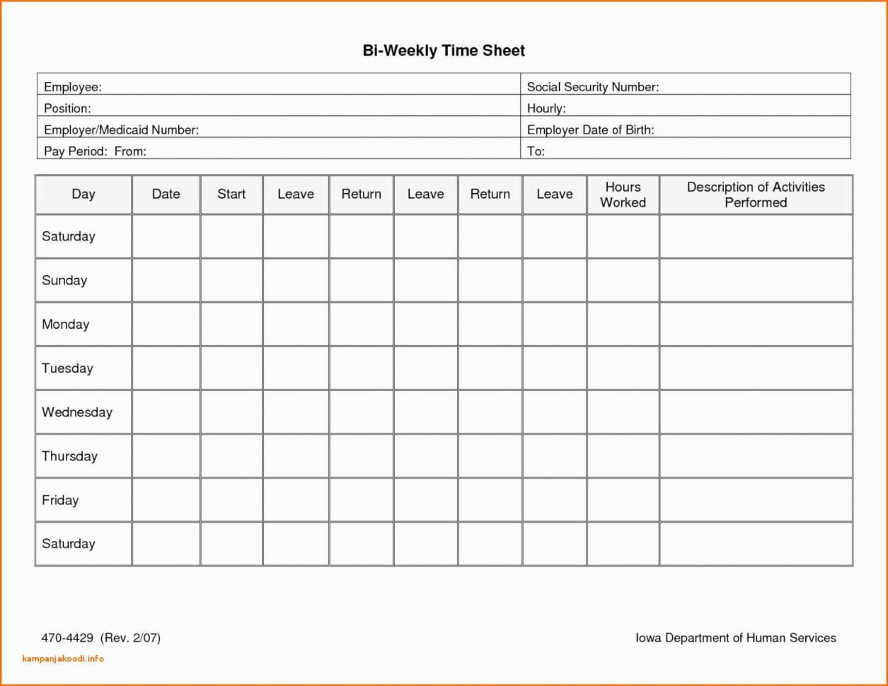 Employee Time Tracking Spreadsheet Awesome Bi Weekly Timesheet In Employee Time Tracking In Excel