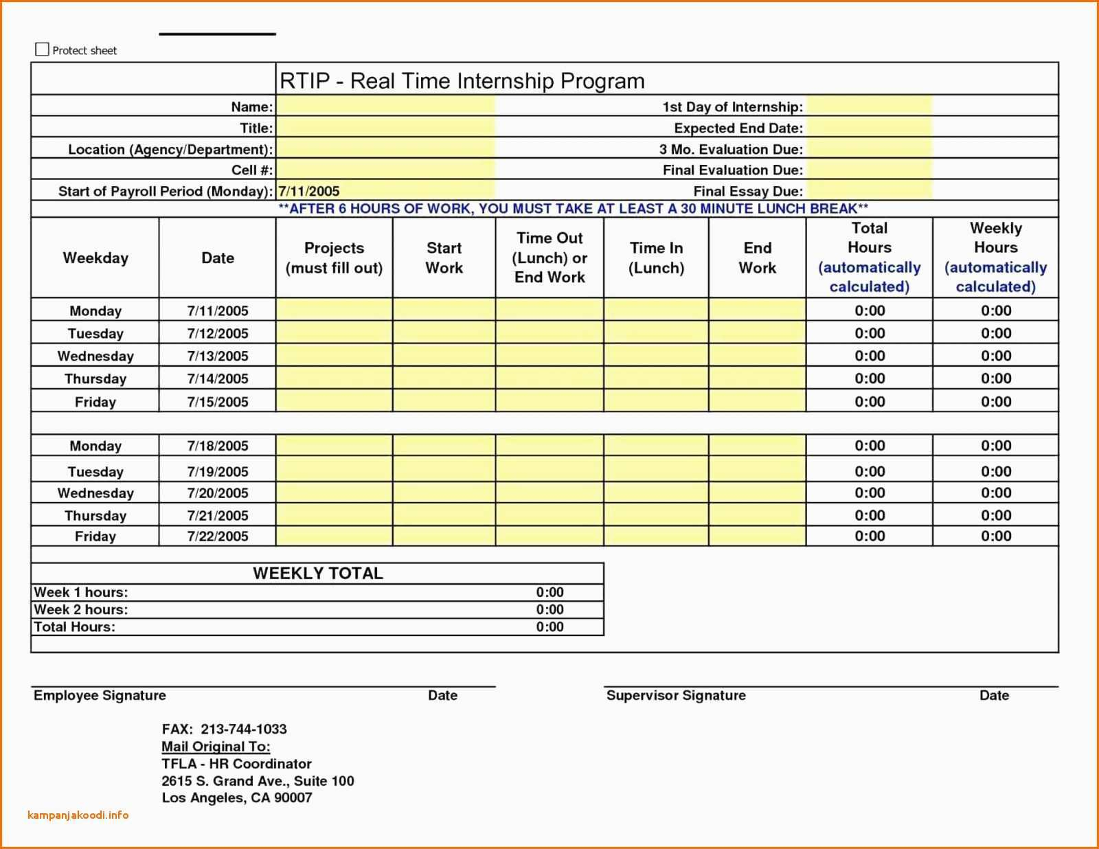 Employee Time Tracking Spreadsheet Awesome Bi Weekly Timesheet With Employee Time Tracking Template