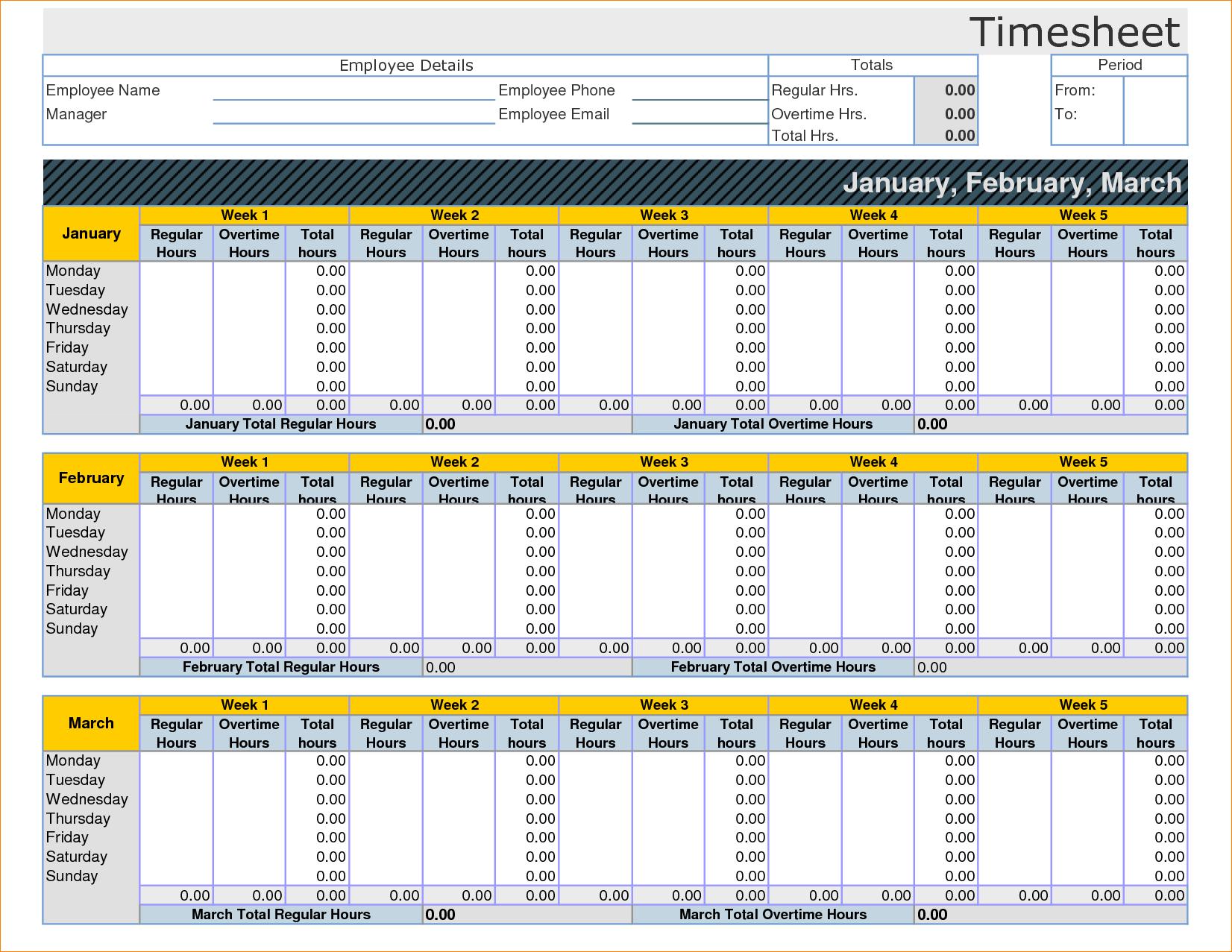 Employee Timesheet Template Excel Spreadsheet 14 - Isipingo Secondary intended for Employee Timesheet Spreadsheet