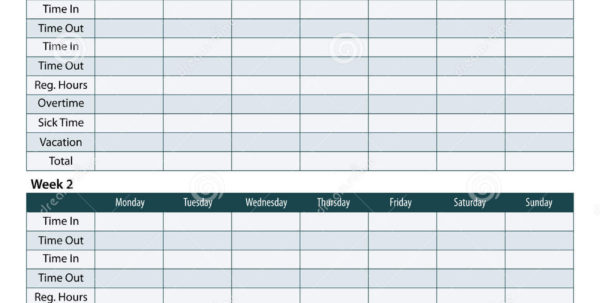 Employee Timesheet Template Stock Vector   Illustration Of Template For Payroll Timesheet Template