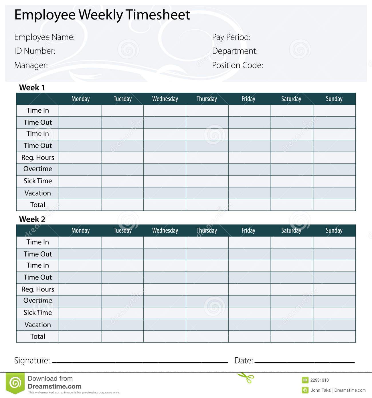 Employee Timesheet Template Stock Vector - Illustration Of Template For Payroll Timesheet Template