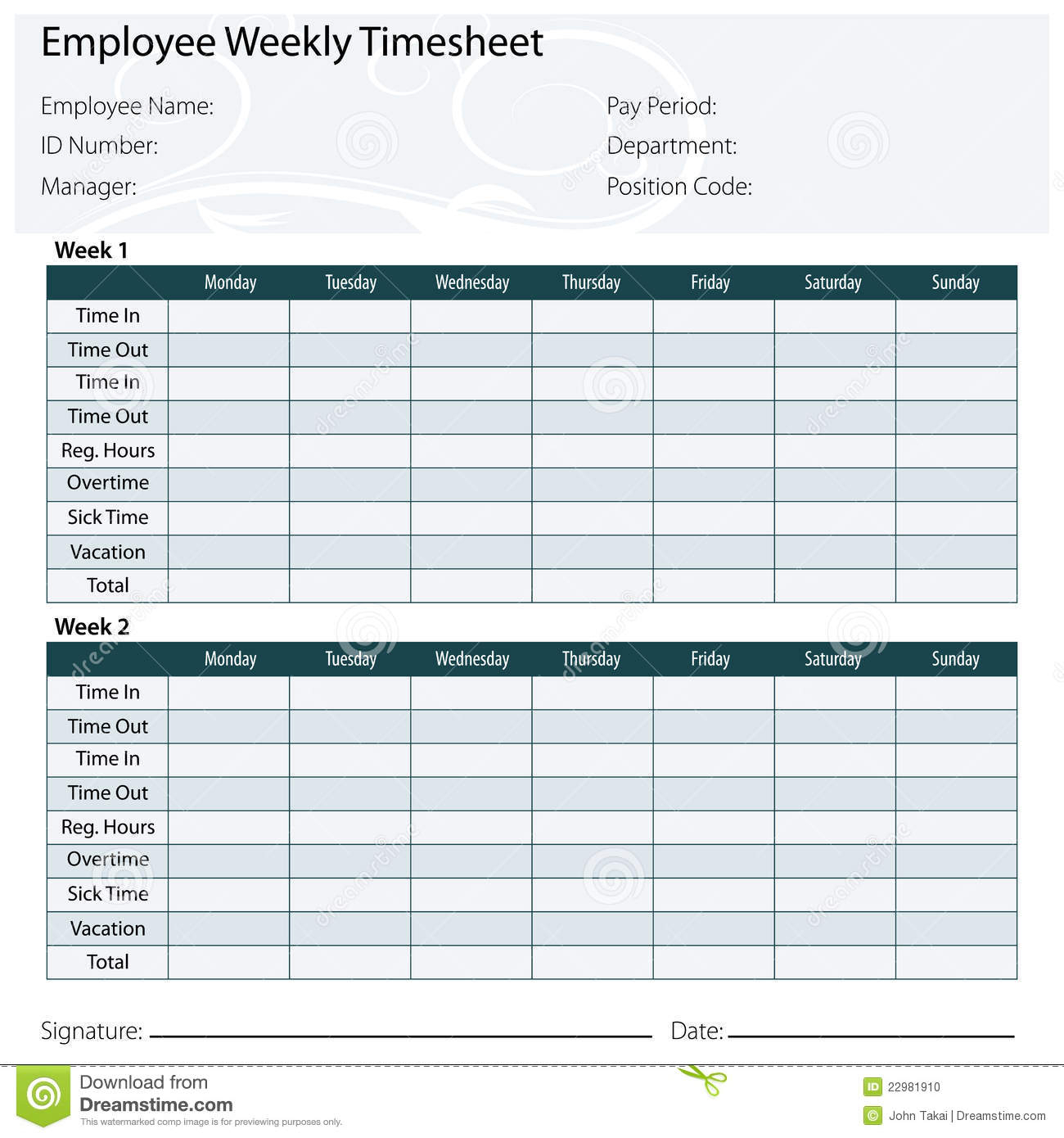 Employee Timesheet Template Stock Vector - Illustration Of Template Intended For Employee Timesheet Template