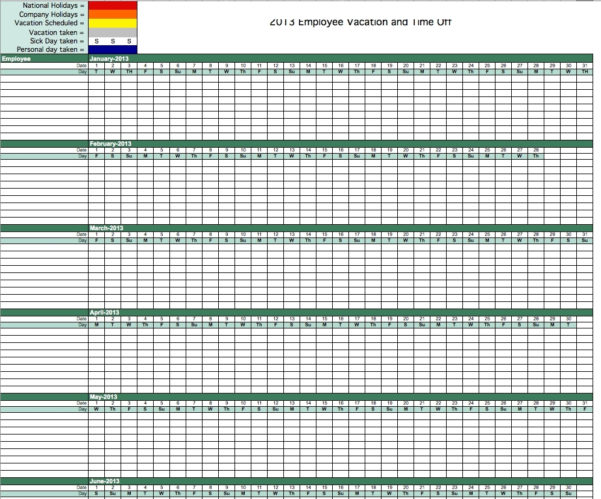 Employee Vacation Calendar Excel | Calendar Template Excel For Intended For Time Off Tracking Spreadsheet