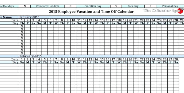 Employee Vacation Planning Calendar   Durun.ugrasgrup For Tracking Employee Time Off Excel Template