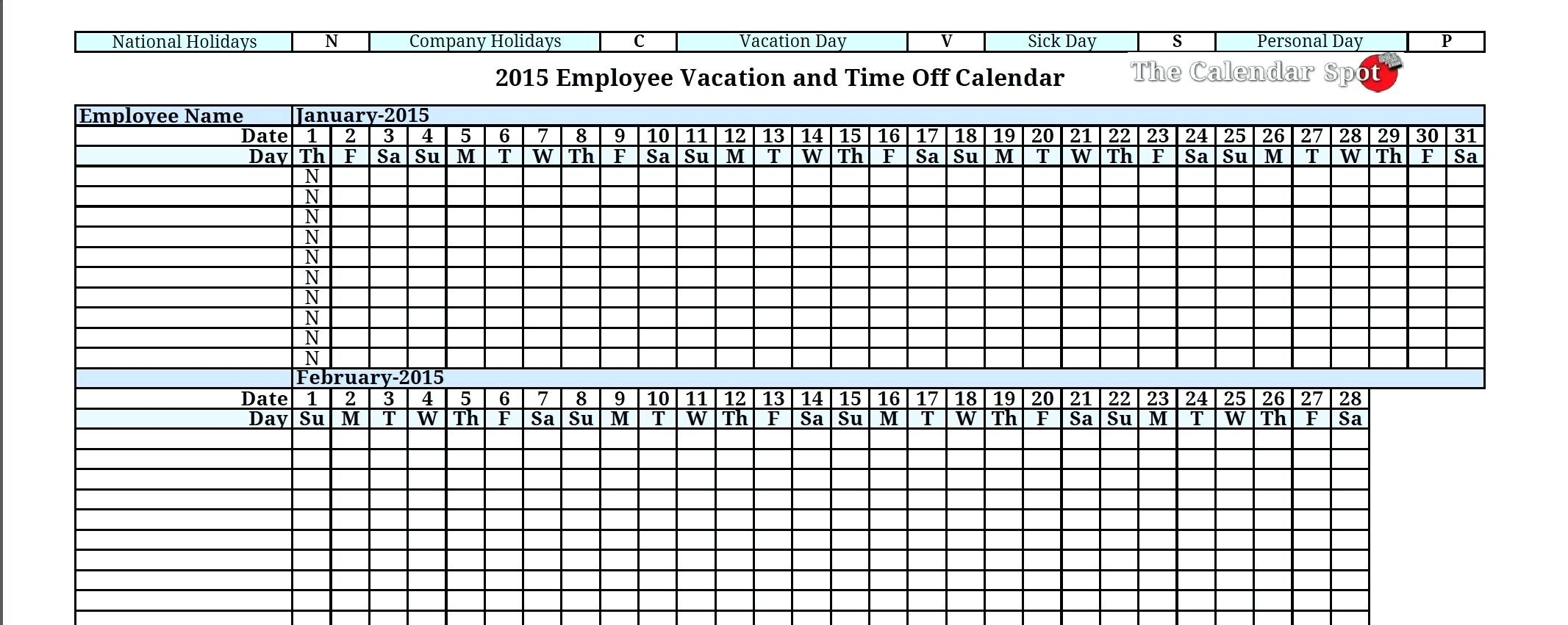 Employee Vacation Planning Calendar - Durun.ugrasgrup For Tracking Employee Time Off Excel Template