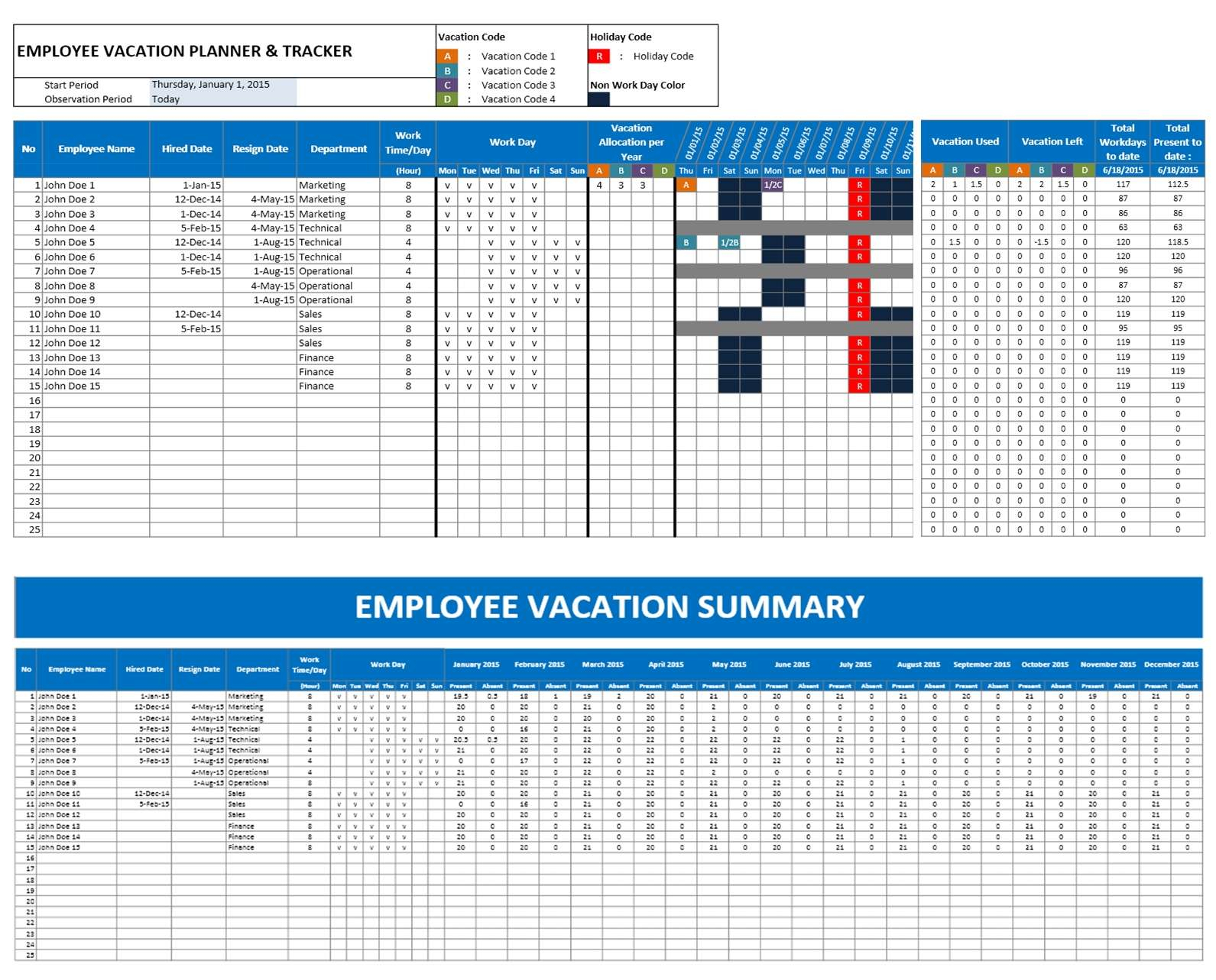 Employee Vacation Planning Calendar - Durun.ugrasgrup In Tracking Employee Time Off Excel Template