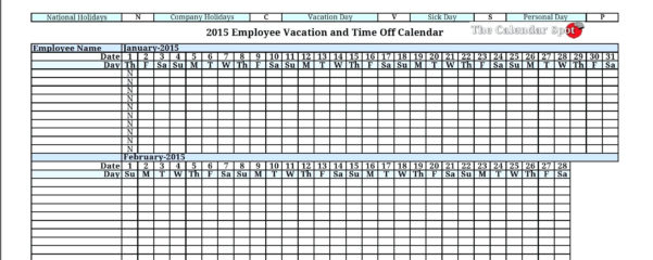 Employee Paid Time Off Tracking Spreadsheet Tracking