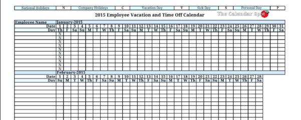 Employee Vacation Planning Calendar   Durun.ugrasgrup Within Employee Paid Time Off Tracking Spreadsheet