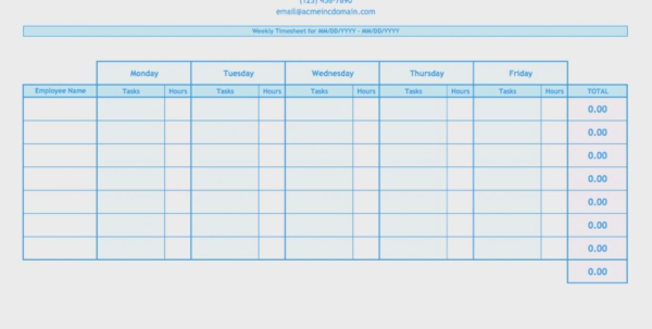Employees Timesheet Excel Printable Weekly Template Employee Timeng To Employee Time Tracking In Excel