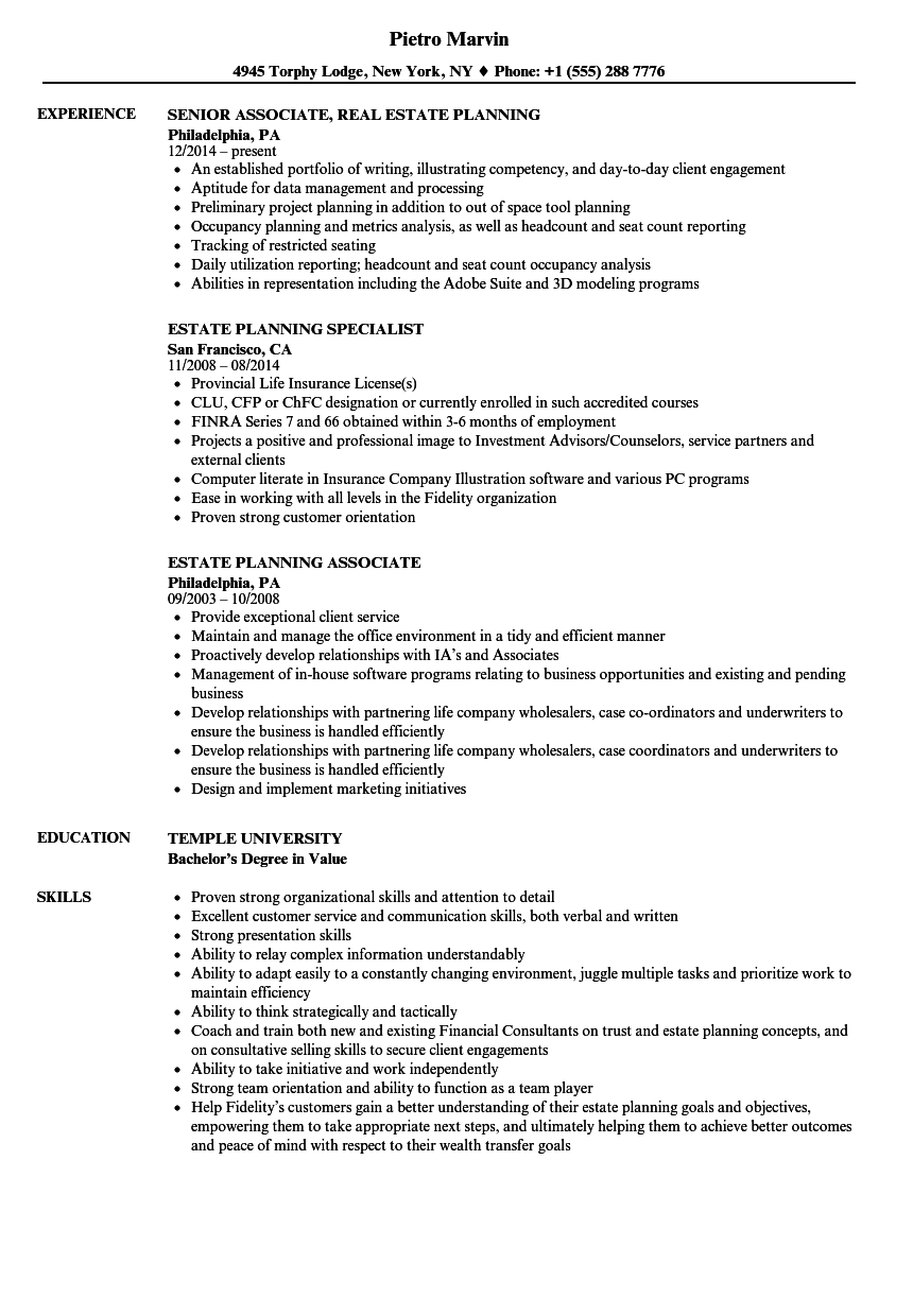 Estate Planning Resume Samples | Velvet Jobs Inside Estate Planning Spreadsheet