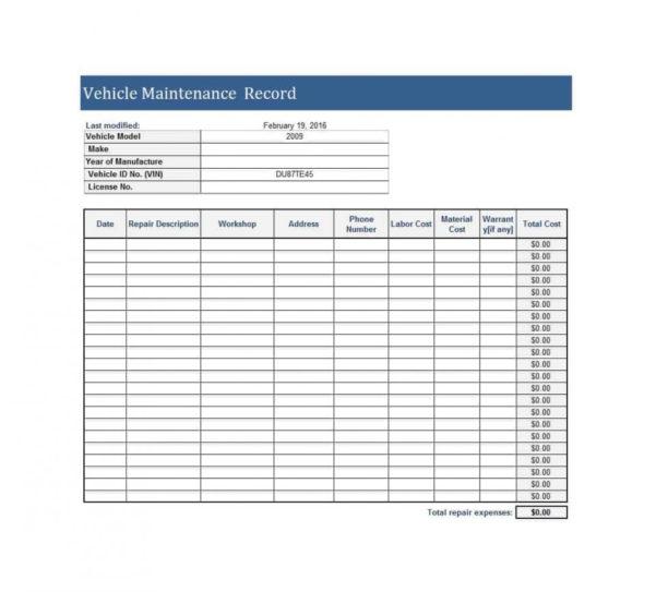 Example Of Auto Maintenance Spreadsheet Printable Vehicle Log With Auto Maintenance Spreadsheet