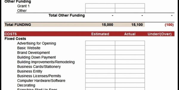 Example Of Business Startup Costs Spreadsheet Essay Constructiongh With Business Startup Expense Template