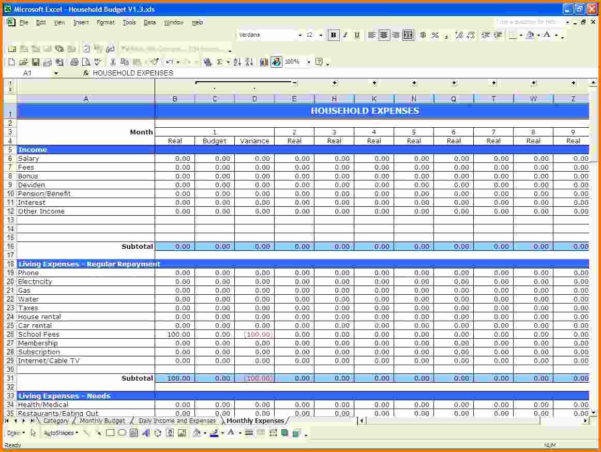 Example Of Excel Spreadsheet For Bills   Resourcesaver Throughout Samples Of Excel Spreadsheets
