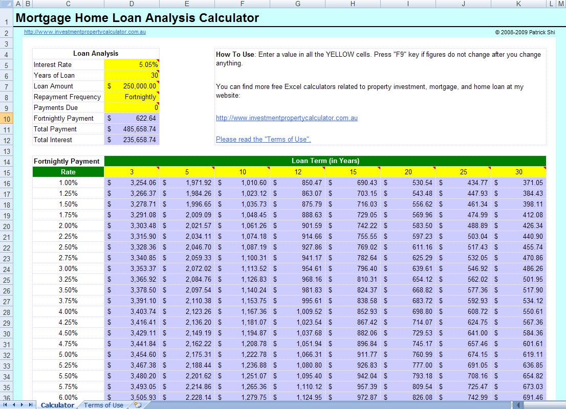 Example Of Mortgage Calculator Spreadsheet Template Excel Comparison Inside Home Loan Spreadsheet