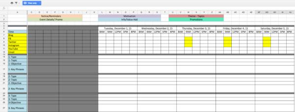Example Of Social Media Analytics Spreadsheet Content Calendar Throughout Social Media Analytics Spreadsheet