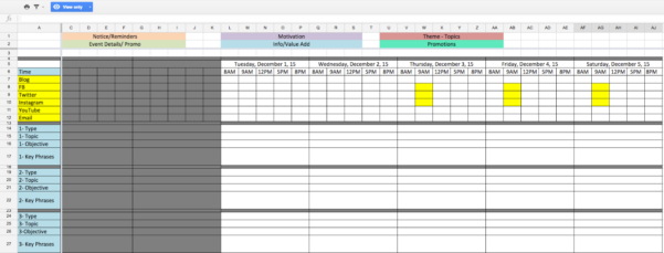 Example Of Social Media Tracking Spreadsheet Marketing Schedule Inside Social Media Tracking Spreadsheet