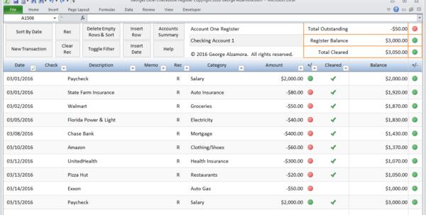 Excel Checkbook Software   Spreadsheet Template With Microsoft Excel Accounting Spreadsheet Templates