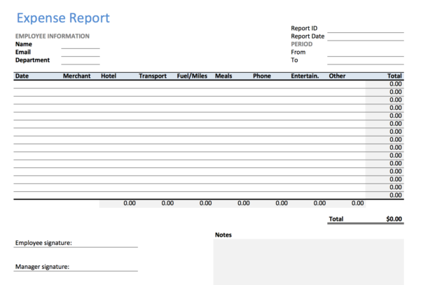 Excel Expense Report Template   Keepek And Detailed Expense Report Template