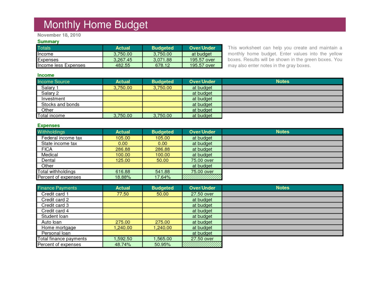 Excel Family Budget Template Sample Household Bud Spreadsheet New In Budget Forms Sample