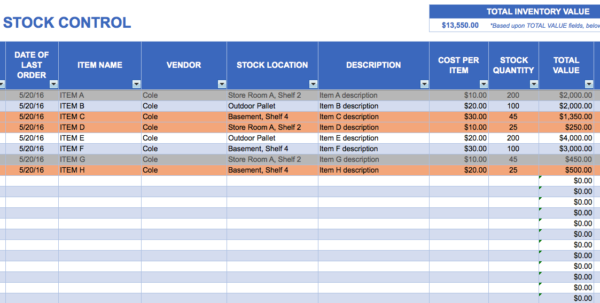 Excel For Inventory   Durun.ugrasgrup For Inventory Tracking Template Free