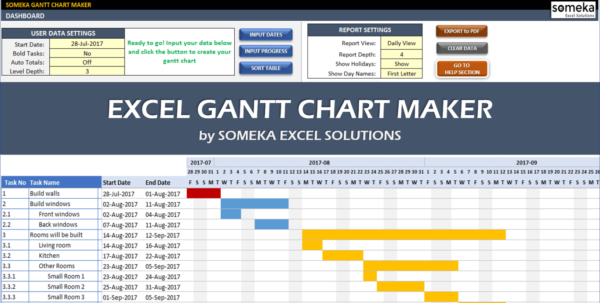Excel Gantt Chart Maker Template   Easily Create Your Gantt Chart In For Gantt Chart Timeline Template Excel Gantt Chart Timeline Template Excel Timeline Spreadsheet