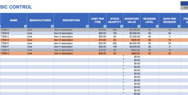 Excel Inventory Sheet   Zoro.9Terrains.co In Store Inventory Management Excel Template