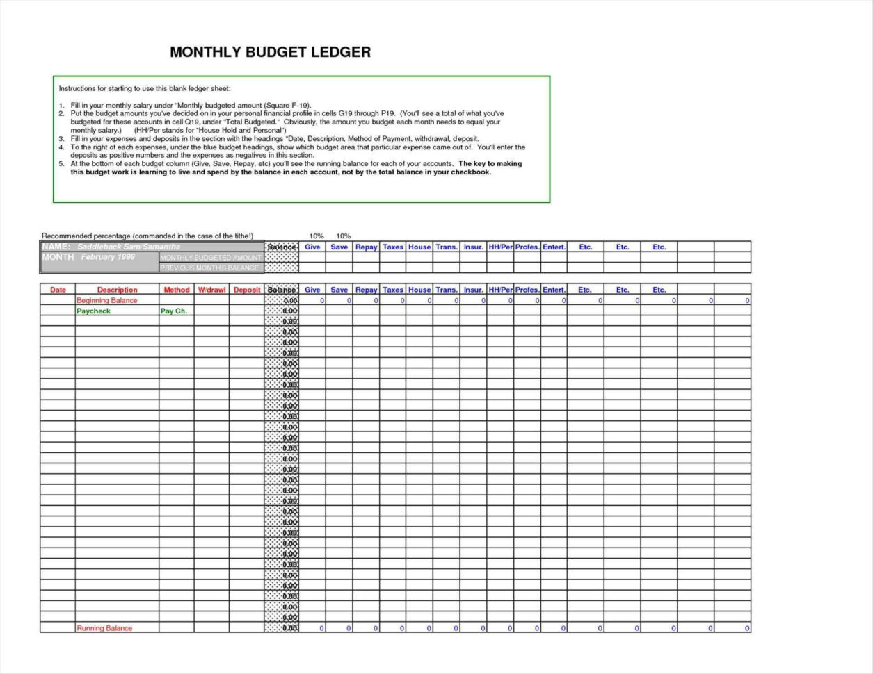 Excel Ledger Template Fresh Berühmt Druckbare Accounting Ledger To Excel Accounting Ledger Template