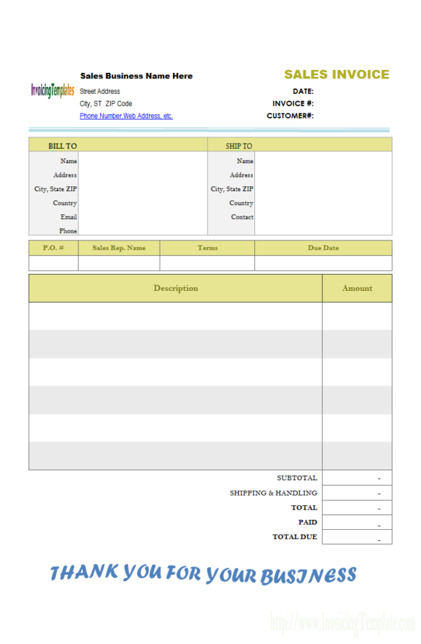 Excel Monthly Bill Template Download For Billing Invoice Sample