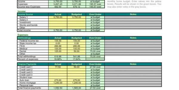 Excel Spreadsheet Home Budget Template Archives   Parttime Jobs To Spreadsheet For Home Budget