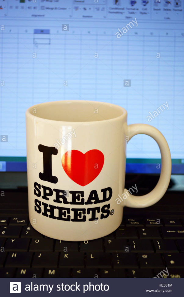 Excel Spreadsheets Stock Photos & Excel Spreadsheets Stock Images With Spreadsheet Mug