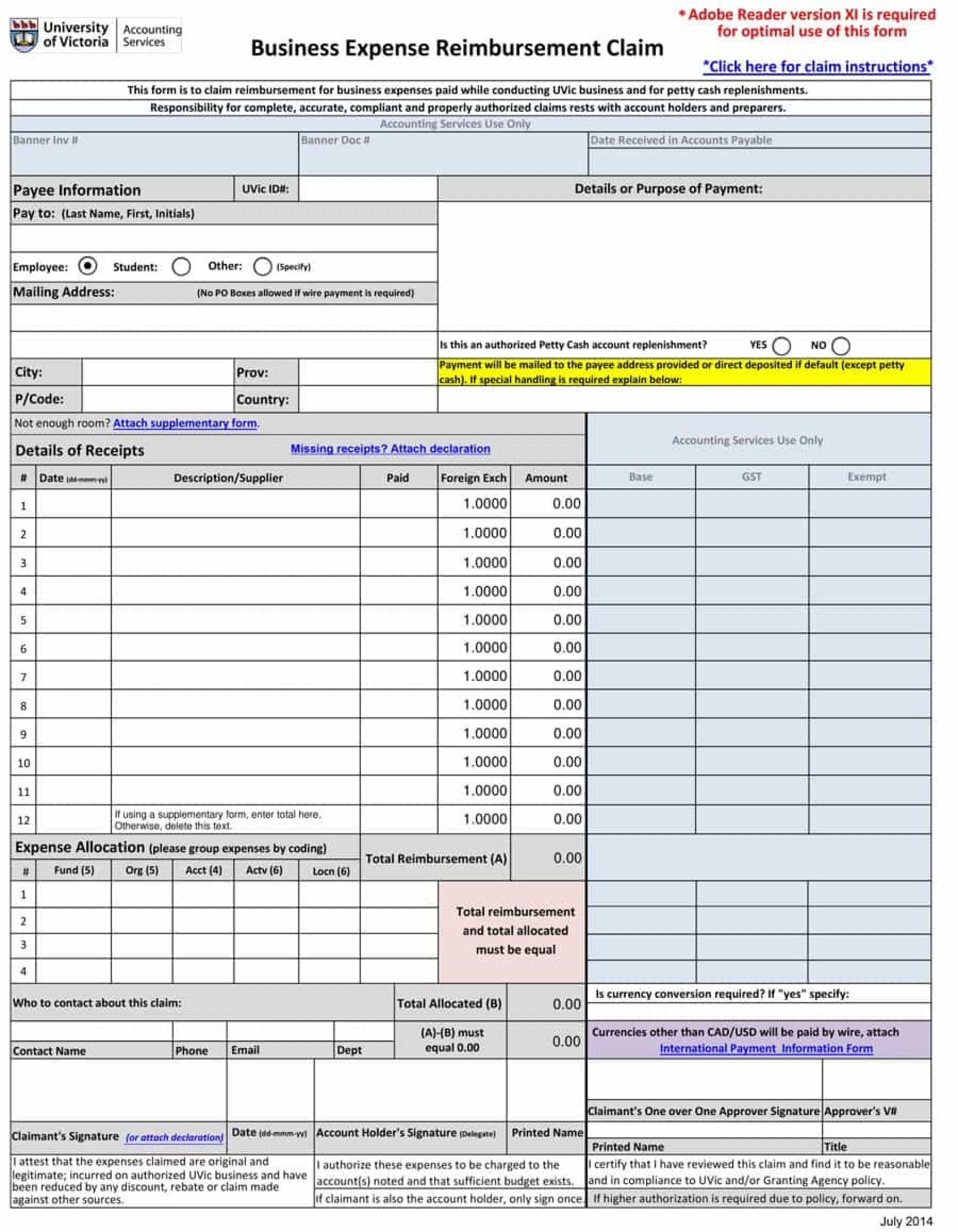 Expense Form Templates Reimbursement Outstanding Simple Excel Inside Business Expense Form Template Free