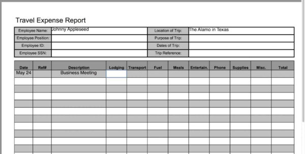 Expense Report Spreadsheet Excel And Business Travel Expense Report With Business Travel Expense Template