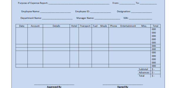 Expense Report Template Inside Generic Expense Report