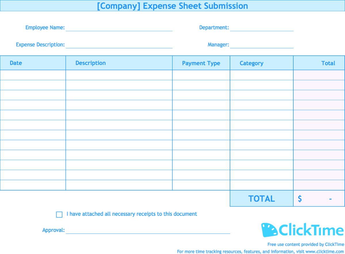 Expense Report Template | Track Expenses Easily In Excel | Clicktime For Company Expense Report