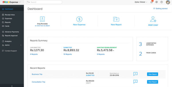 Expense Reports For G Suite   Zoho Expense Intended For Business Expense Tracking Software