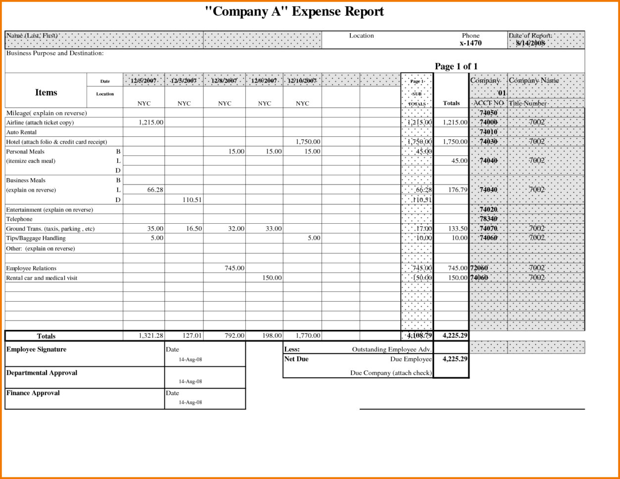 Expenses Template Free   Resourcesaver With Expense Report Spreadsheet Template