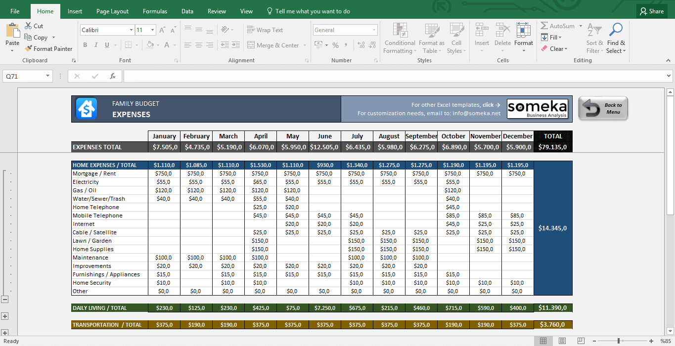 Family Budget   Excel Budget Template For Household Intended For Home Accounting Spreadsheet For Excel