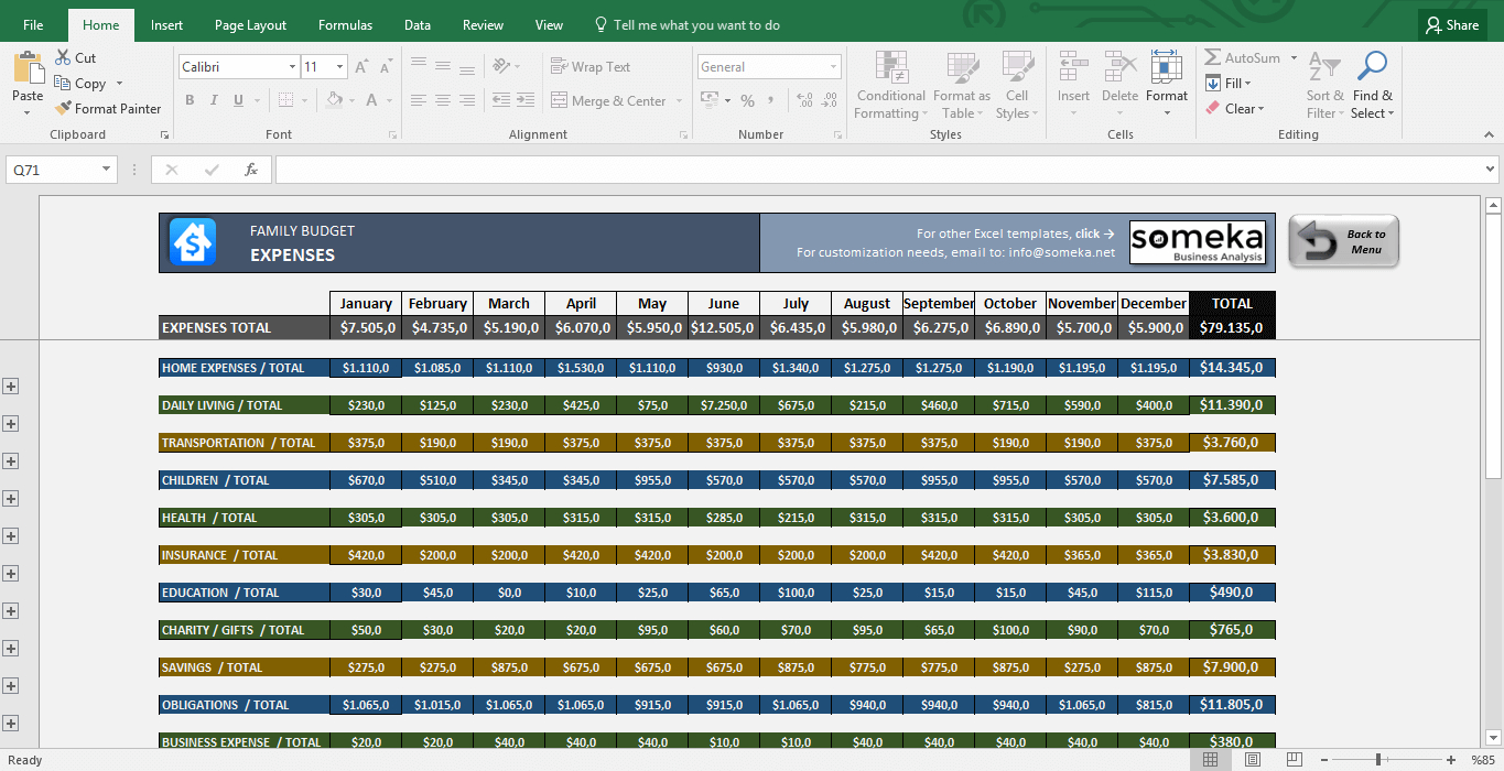 Family Budget - Excel Budget Template For Household With Spreadsheet For Household Budget